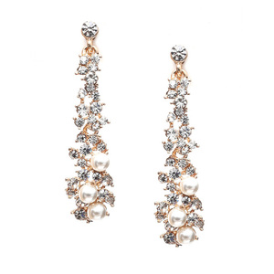 Children Clipon Earrings and Children Jewellery – Bridal gold-tone crystal and white faux...