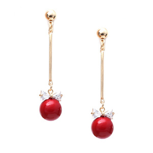 Children Clipon Earrings and Children Jewellery – Dangle red bead with crystal bow gold-tone...