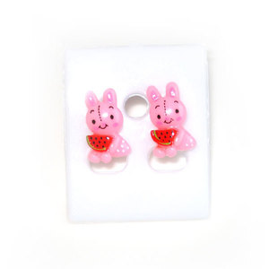 Children Clipon Earrings and Children Jewellery – Baby-pink Bunnies with Water Melon