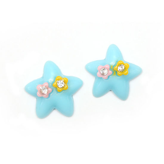 Blue star with flowers and rhinestones clip-on earrings