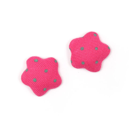 Camellia pink polka dots fabric covered star shape clip-on earrings