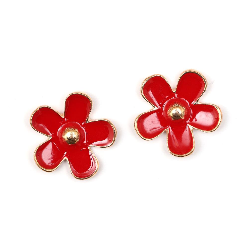 rose gold plated red enamel flower clip on earrings. Black Bedroom Furniture Sets. Home Design Ideas