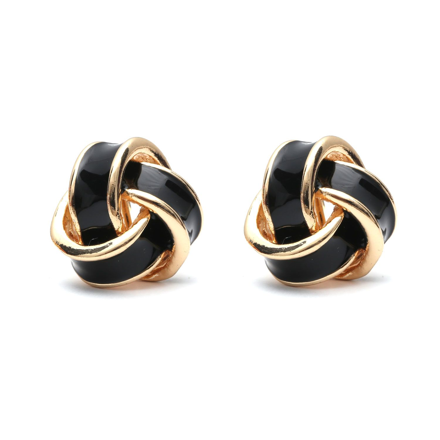 80a559146 Black Enamel Knot Gold-Tone Screw Back Clip-on Earrings
