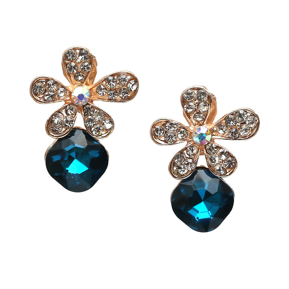 diamante flower with blue crystal clip on earrings free gift box. Black Bedroom Furniture Sets. Home Design Ideas