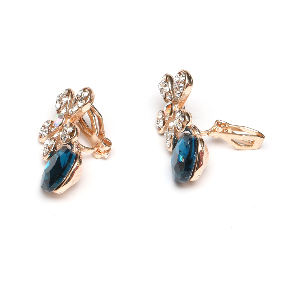 Children Clipon Earrings and Children Jewellery – Diamante flower with blue crystal clip...