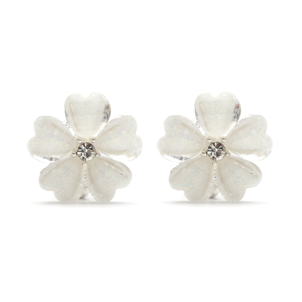 Children Clipon Earrings and Children Jewellery – White four-leaf flower with CZ